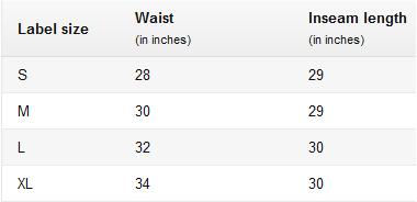Men's Joggers Size Chart