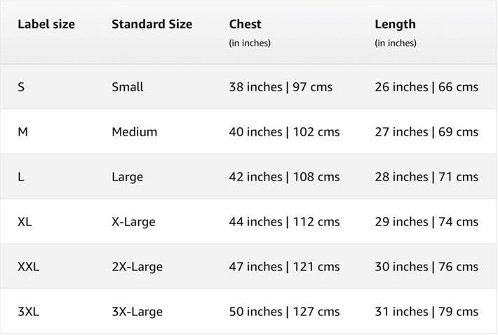 Men's Full Sleeves T-Shirts Size Chart