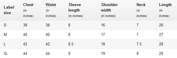 Men's Round Neck T-Shirts Size Chart