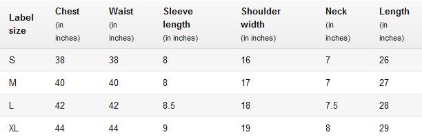 Men's Round Neck T-Shirts Size Chart