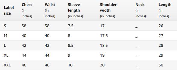 Men's Polo Shirts Size Chart