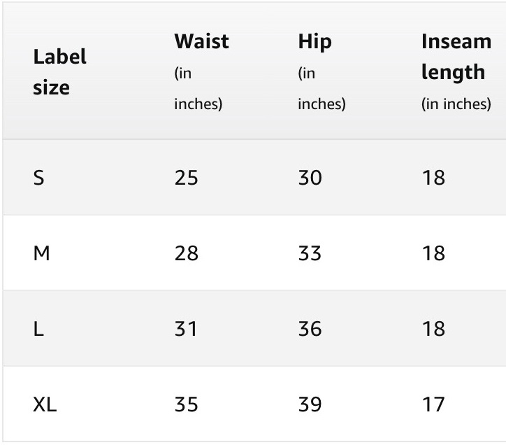 Women's Leggings  Size Chart